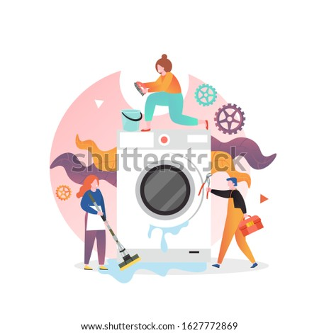 Professional handyman plumber fixing washer, vector illustration. Washing machine repair and maintenance service concept for web banner, website page etc.