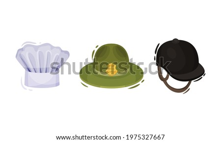Professional Hats with Jockey Cap and Chef Toque Vector Set Stock photo ©