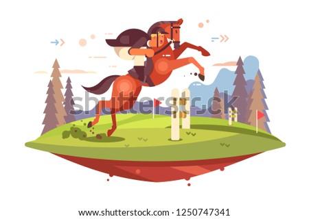 Professional Horseback Riding vector illustration. Jockey boy in uniform overcoming of obstacles flat style concept. Horse and man rider jumping hurdles