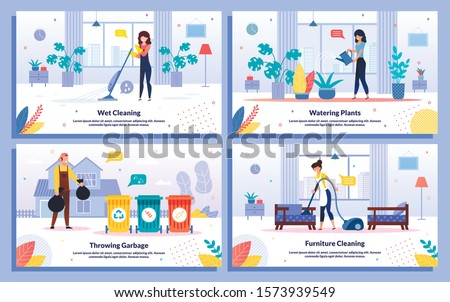 Professional House or Office Cleaning Service, Trendy Flat Vector Ad Banners, Posters Set. Female, Male Workers Mopping Floor, Vacuuming Furniture, Watering Plants, Throwing Garbage, Illustration