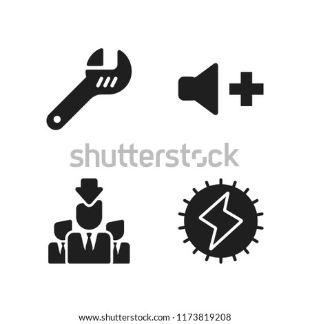 professional icon. 4 professional vector icons set. wrench, worker seeking and volume icons for web and design about professional theme
