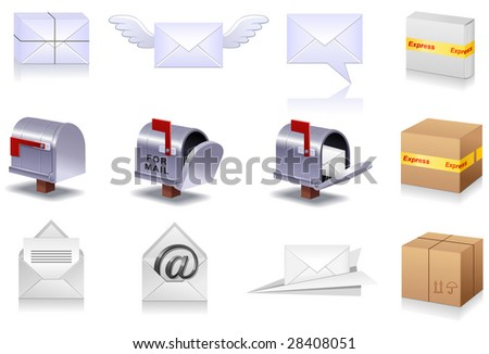 Professional icon set of a mail for your site