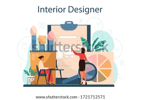 Professional interior designer concept. Decorator planning the design of a room, choosing wall color and furniture style. House renovation. Isolated flat vector illustration Stockfoto ©