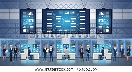 Professional IT Engineers Working in System Control Center Full of Monitors and Servers. Possibly Government Agency Conducts Investigation. Vector illustration