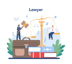 Professional lawyer concept. Punishment and judgement idea. Settling document creation. Law advisor or consultant, advocate defending a customer. Vector flat illustration