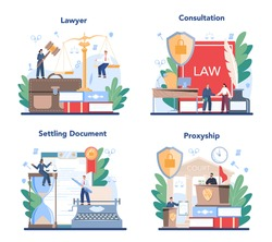 Professional lawyer concept set. Punishment and judgement idea. Settling document creation. Law advisor or consultant, advocate defending a customer. Vector flat illustration