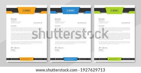Professional letterhead design for corporate business. Creative official letterhead layout with abstract geometric graphic background. Modern company letterhead cover template with logo and icon.