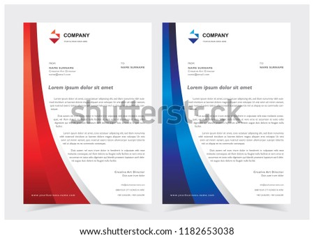 business blue wave style letterhead template download free vector