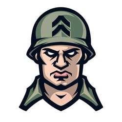 Professional logo american soldier, sport mascot, icon angry warrior. Vector illustration, isolated on white background. Simple shape for design emblem, symbol, sign, badge, label, stamp.