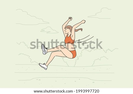 Professional long jump athlete concept. Positive young woman long jump sportsman taking part in competitions jumping forward trying to win vector illustration  ストックフォト ©