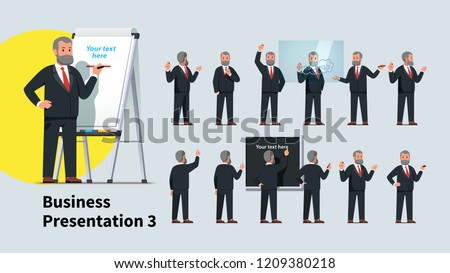 Professional looking business teacher man giving presentation or lecture on a modern flipchart poses set. Businessman professor writing on flipchart & transparent glass board. Flat vector illustration