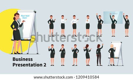 Professional looking business teacher woman giving presentation or lecture on a modern flipchart poses set. Businesswoman writing on flipchart and transparent glass board. Flat vector illustration