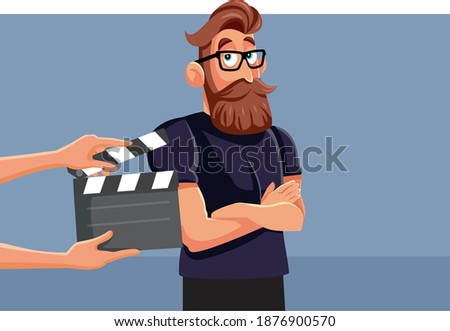 Professional Male Actor Performing on Set Vector Cartoon. Young male model ready to film a new commercial