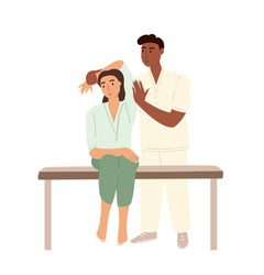Professional male osteopath bonesetter making massage to woman.Spine Adjustment.Rehabilitation therapy or manual therapy.Chiropractor working.Flat vector cartoon illustration isolated,white background
