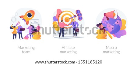 Professional marketers service, advertising business, worldwide networking icons set. Marketing team, affiliate marketing, macro marketing metaphors. Vector isolated concept metaphor illustrations