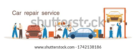 Professional mechanic in overalls working at car repair service vector flat illustration. Colorful man and woman at process diagnostic, lift, change of machine oil isolated on white background