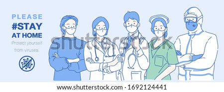 "Professional medical doctors wearing protective mask, thay saying ""Please stay at home"". Infection control concept. Hand drawn in thin line style, vector illustrations."