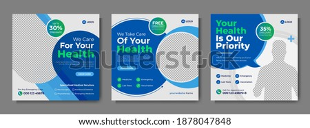 Professional medical healthcare service social media post template design. Clinic or hospital digital marketing flyer for web. Creative health business promotion banner for doctor, dentist with logo.