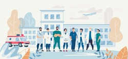 Professional Medical Team Staff in Clinic Yard. Affable Specialist Group on Clinic Backdrop. Surgeons, Nurses, Therapists, Dentists and other Practitioners. Vector Flat Cartoon Illustration