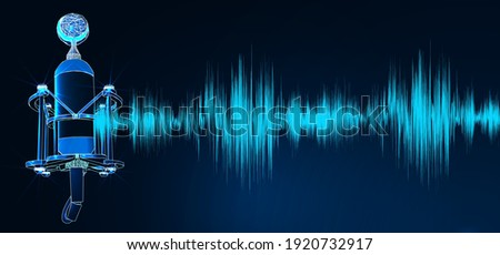 Professional microphone with waveform on blue background banner, Podcast or recording studio background. Digital low poly wireframe of futuristic vector.