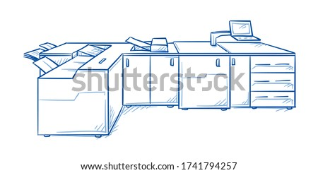 Professional multifuncional digital production printing machine for print shops. Hand drawn line art cartoon vector illustration. Foto stock ©
