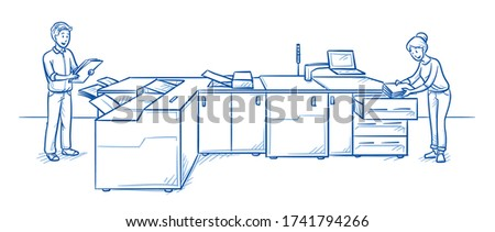 Professional multifuncional digital production printing machine for print shops with two people operating it. Hand drawn line art cartoon vector illustration. Foto stock ©