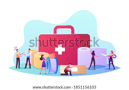 Professional Nurse or Doctor Traumatologist at Hospital Bandaging Hand with Medical Bandage for Patient. Tiny Characters at Huge Medic Stuff Box and Bandage Roll. Cartoon People Vector Illustration Stock photo ©