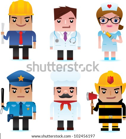 Professional occupation icons including engineer, doctor, nurse, policeman, chef, fire officer