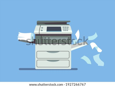 Professional office copier icon, multifunction printer printing isolated paper document, vector illustration. Printers and copiers for office work Foto stock ©