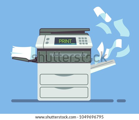 Professional office copier, multifunction printer printing paper documents isolated vector illustration. Printer and copier machine for office work