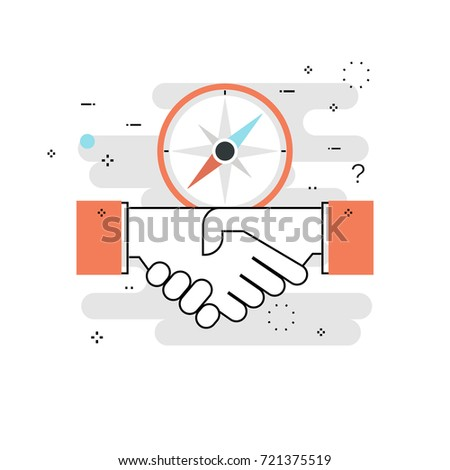 Professional orientation, guidance and directions. Business trends and tips, business mission, goals, consulting flat line vector illustration design for mobile and web graphics