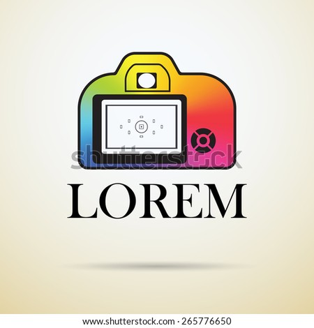 Professional photo camera icon filled with color conical gradient. photo logotype mock up. Photography logo design template.