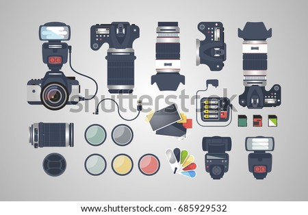 Professional photographer equipment. Photography tools, photo editing. Digital photography. Photographer. Modern simple and clean design.