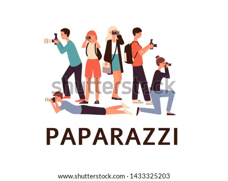 Professional photographers, journalists or paparazzi with camera taking photo in different poses, flat vector characters set illustration isolated on white background.
