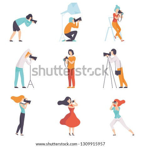 Professional Photographers Taking Photos Using Professional Equipment Set, Men and Women with Digital Cameras Making Pictures Vector Illustration