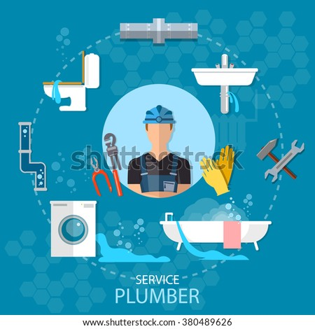 Professional plumber plumbing repair service different tools and accessories vector illustration