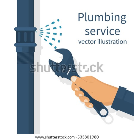 Professional plumber with an adjustable wrench hold in hand repairing plumbing, isolated. Plumbing service,  repair fix leaking. Vector illustration flat design. Fixing pipe. Maintenance water pipe