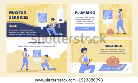 Professional Plumbing Service, House Repair Company Flat Vector Web Banners, Landing Pages Templates Set with Plumbers with Wrench, Maintaining, Installing or Repairing Faucet in Bathroom Illustration