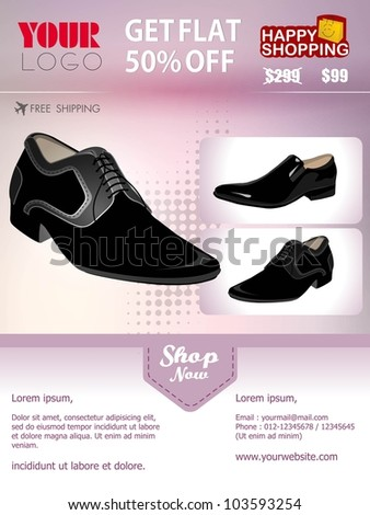 Professional product flyer or banner template of man's shoe with attractive discount offers for promotion, marketing can be used as for mailer and newsletter. EPS 10. Editable and space for your text.