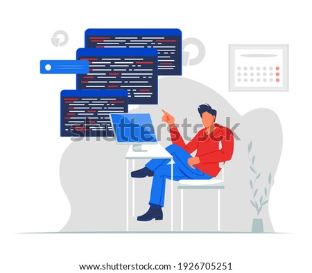 Professional programmer writing code for testing computer software, flat vector illustration isolated on white background. Man using computer for fixing bugs, coding and programing.