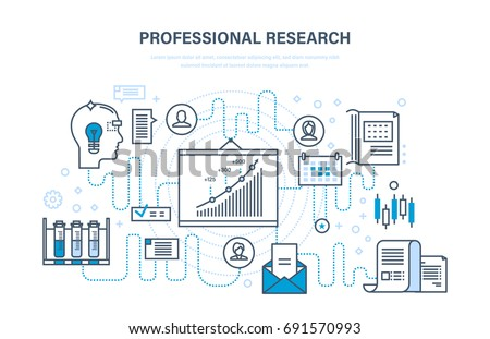 Professional research. Business planning and business strategy, marketing, monitoring, analysis, systems development, education, control of project. Illustration thin line design of vector doodles.