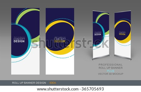 Professional Roll Up Concept Template for Business Purpose, Place Your Products and Ready To GO For Print. #365705693