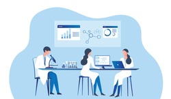 Professional scientists, doctors and chemical researchers working and analysis in laboratory experiment vector  Illustration. Medical laboratory, research experiment biology molecular concept.