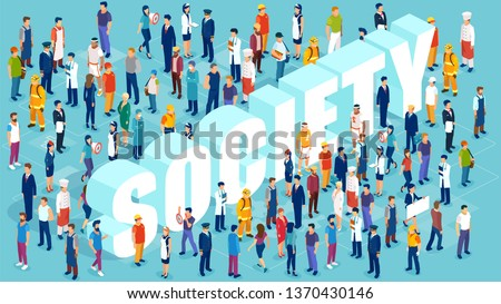 Professional society concept. Isometric vector of people of different occupations and professions