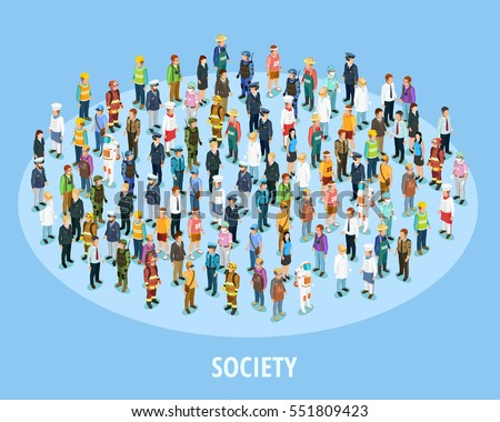 Professional society isometric background with people of different occupations and jobs isolated vector illustration