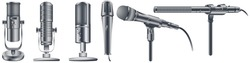 Professional sound recording equipment. Microphones collection in realistic style for voice record. Equipment for audio podcast broadcast or music. Isolated vector illustration. 3d on white background.