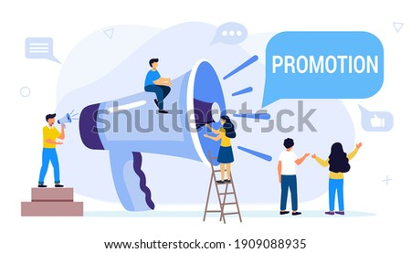 Professional speaker with megaphone Tiny people creative trainees or company members listening to the performance to skilled coach or senior colleague Vector illustration flat design style