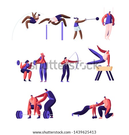 Professional Sport Activities Set. Male and Female Sportsmen Characters Workout. High Jump, Vaulting Horse, Pole Jumping, Core Shot, Bow Shooting, Gymnastics Exercises Cartoon Flat Vector Illustration