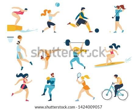 Professional Sport Activities Set. Men Women Sportsmen Characters Workout. Swimming, Basketball, Biking, Athletics, Gymnastics Exercises, Surfing, Golf, Weightlifting. Cartoon Flat Vector Illustration