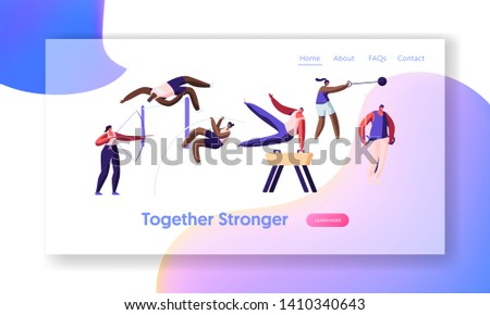 Professional Sport Activities. Sportsmen Workout. High Jump, Vaulting Horse, Pole Jumping, Core Shot, Bow Shooting, Exercises, Website Landing Page, Web Page. Cartoon Flat Vector Illustration, Banner